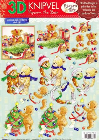 Christmas Popcorn The Bear No 20 3d Decoupage Craft Sheet